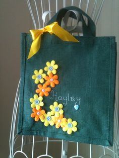 decorated jute lunch bag personalised with hand embroidery