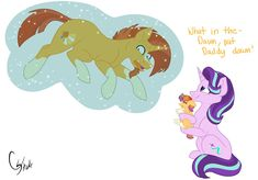 """Sunburst: """"Well, 11 months have come and gone."""" Starlight: """"It took forever."""" Sunburst: """"I know, but it was all worth it. We finally get to see our beautiful little filly."""" Sunburst's eyes go soft ..."""