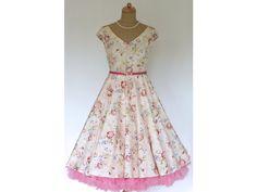 d08a173610ab LOREN retro šaty smetanové s kytičkami - MiaBella