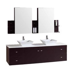 Kokols USA Espresso 72-in Vessel Double Sink Oak Bathroom Vanity with Cultured Marble Top (Faucet and Mirror Included)