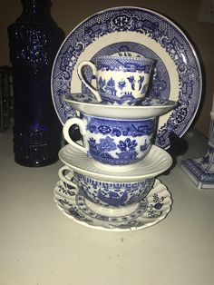 Chinese HOWO bird cup & LIMOGES plate Decor set .Blue and white Chinoiserie display.3Tea Cups/saucers and 1 large willow plate.Mothers Day