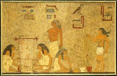 Weavers, Tomb of Khnumhotep, Egyptian, Middle Kingdom, ca. 1897–1878 B.C. This facsimile painting copies part of a scene in the tomb of Khnumhotep (tomb 3) at Beni Hasan. The scene depicts a group of weavers. The women at the right are plying linen thread and the two at the left are weaving cloth on a ground loom. Learn more: http://www.metmuseum.org/art/collection/search/548575