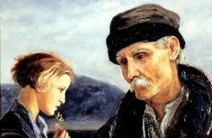 Old Man and a Boy with a Forsythia Flower ~ Painting by Vlastimil Hofman Thomas Davies, Harry Anderson, Bo Bartlett, Stephanie Brown, Caravaggio, Greek Quotes, Banksy, Education, Life Lessons