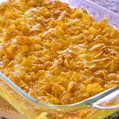 Small Batch Funeral Potatoes – AKA cheesy potato casserole with corn flake topping, party potatoes, or potluck potatoes – scaled down to make a great side dish.