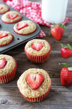 Whole Wheat Strawberry Banana Muffins Recipe on http://twopeasandtheirpod.com These easy and healthy muffins are a breakfast favorite!