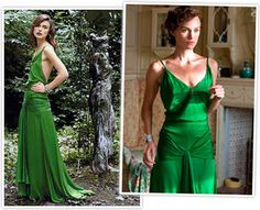This green dress from Atonement was made of such delicate material that it easily tore and about 19 dresses were made. That particular shade of green was achieved in mixing several green dyes together.