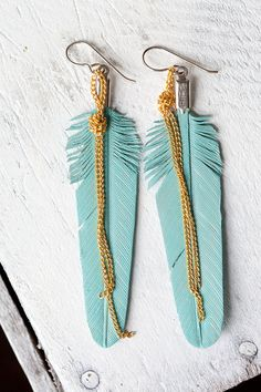 turquoise leather feather earrings with gold colored chain