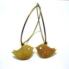 Charm Hoop Earrings  Cute Birds Matte Gold