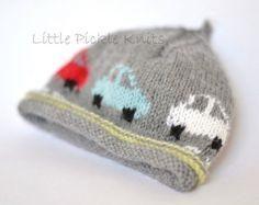 Baby Knitting Pattern Little Cars Beanie PDF by littlepickleknits