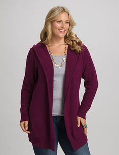 Plus Size Hooded Open Cardigan | DressbarnPlus Size Hooded Open Cardigan  Navy, Oatmeal & Plum $42.00 select colors $25.20