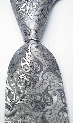 780393e39bb9 Details about New Classic Paisley Silver Gray JACQUARD WOVEN 100% Silk Men's  Tie Necktie