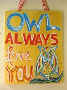 Chi Omega Owl Always Love You Painting by tealejane on Etsy. $30.00, via Etsy.