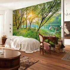 Fotobehang Spring lake - Bomen behang
