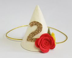 Baby Girl Boy 1st First Birthday Party Hat, Mini Cone hat, Photo Prop, Kids Children Mini cone headband, Felt Flower - Ivory