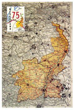 Países Bajos, 1989 150 Aniversario del Tratado de Londres. Postal con mapa de los Países Bajos y Bélgica con las dos provincias de Limburgo.