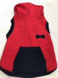 Dog Hoodie Size M Puppy Fashion Pet Clothes Solid Red Blue Trim Bone Pocket  | eBay