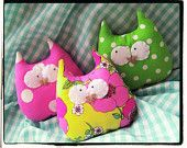 Owl Ornament Plushies - Green Pink Yellow Set of 3 Bright