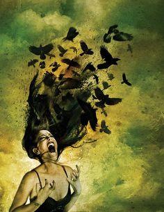 From Gothic Art and Fantasy Art Work by Randy Pollak - crows Illusion Kunst, Celtic Goddess, Illustration, Gothic Art, Dark Art, Amazing Art, Awesome, Mythology, Cool Art
