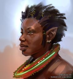 male elf black portrait