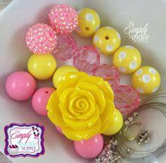 Navy pink anchor chunky necklace diy bead make it yourself kit chunky necklace diy kit flower bead make it yourself kit pink and yellow pink lemonade solutioingenieria Gallery