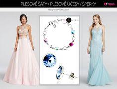 Plesové šaty s optickými iluzemi přilákají pozornost diváků. šperky ponechte nenápadné, stejně tak jako účesy.