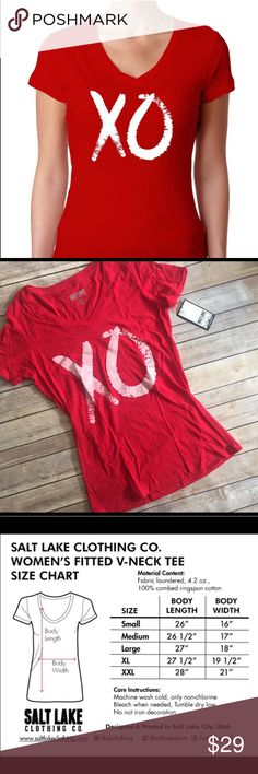 Large XO V Neck Tee Super cute tee with XO graphic. Brand new and a perfect gift idea! Refer to size chart pictured. Salt Lake Clothing Tops Tees - Short Sleeve