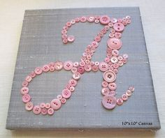 button letters on woven canvas