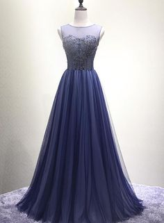 ceb89d11a9707 Navy Blue New Style Floor Length Formal Dress