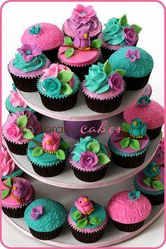 Mixed Birdie Cupcake Tower