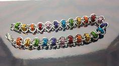 Rainbow / Gay Pride chain maille bracelet  Barrels by JoyasSuri, €16.00