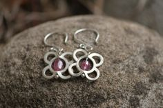 Flower Sterling Silver Tourmaline Earrings by JADjewelry on Etsy, $22.00