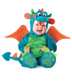 little dragon costume-seriously my babies would never have kept these on, but they are cute!