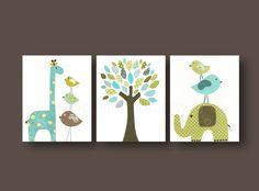 Aqua blue green and brown nursery - Boys playroom art - Kids art - elephant giraffe bird Tree - Set of three 8x10 prints on Etsy, $42.00