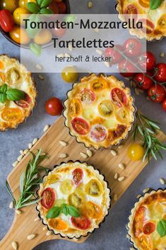 Tomaten-Mozzarella Tartelettes – herzhaft leckere Mahlzeit, die Kindern und Erwachsenen schmeckt. Veggie Muffins, Healthy Muffins, Quick Snacks, Healthy Snacks For Kids, Snacks Kids, Quiches, Sugar Free Nutella, Veggie Recipes Healthy, Picky Eaters Kids