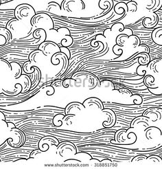 Black and white vector background Wind Drawing, Cloud Drawing, Cloud Art, Japanese Cloud Tattoo, Black And White Clouds, September Art, Cloud Illustration, Clouds Pattern, Sky Art