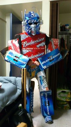 HOW COOL IS THIS??!!!  Beer Optimus Prime halloween costume.