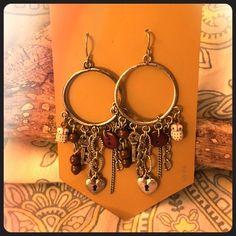 Darling Boho Charm earrings Tiny owls, heart lock and key charm beads make this a fun accessory! Jewelry Earrings