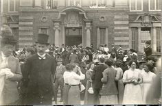 13th June 1913: this image shows people gathered outside the building for the opening ceremony. Courtesy of Our University Archive Collection, with thanks to Keith Rowntree for his help and support for this Board.