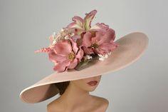 Woman Hat Flowers Church Wedding Hat Head Piece Kentucky Derby Hat Bridal Coctail Hat Couture Fascin One size Tea Hats, Tea Party Hats, Cloche Hats, Fascinator, Headpiece, Wedding Hats, Church Wedding, Bridal Hat, Church Hats
