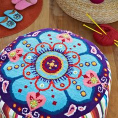 Supersize Stitches Groovy Pouffe Cross Stitch Kit - Copyright Design by Jacqui Pearce, available at JacquiP.com
