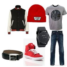 El cinturón negro, los zapatos rojos, el reloj negro, los bluejeans, la camiseta gris, el gorro rojo, la chaqueta negra, blanca, y roja. Cuesta: $319/ 285.29€ Clavado por: Domingo Garwood