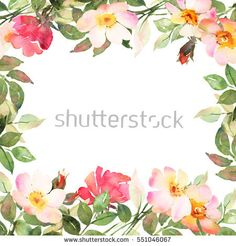 Flower bohemian square frame with pink and red roses. Decorative composition for wedding invitation and save the date card. Watercolor illustration