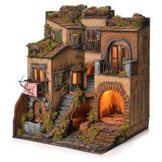 Borgo presepe napoletano stile 700 e fontana cm 50x40x44
