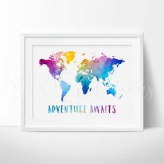World Map Art, Trending Art, World Map Print, Adventure Awaits Travel Quote…