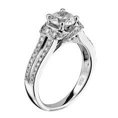 SCOTT KAY  14k white gold diamond semi-mounting containing (58) round brilliant cut diamonds. M1644R310