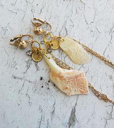 Seashell Dangle Earring Ocean Hanging Charms Jewelry Earrings by ObscuredOdditiess on Etsy