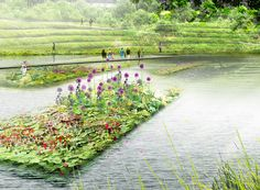 PARK OF THE FLOATING GARDENS XIANG'HE (CN) OKRA's concept of the Park of the Floating Gardens turns the former clay pits into a water park. OKRA propose to turn the isolated pits into a park area with a strong identity based on the presence of water at different levels, providing recreational facilities and contributing to a sustainable environment.