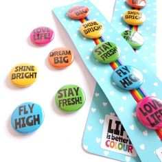 Items similar to Motivational Button Badge Set - Words to Live By Rainbow Badge Set - Cute and Colourful Badges on Etsy Rainbow Badge, Good Find, Button Badge, Pink Design, Motivational Words, Dream Big, Badges, Life Is Good, Presents