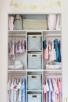 Nursery Closet Organization DIY | Gender Neutral Nursery Closet | Nursery Closet Organization Small | Nursery Closet Ideas DIY Babies Clothes | Baby Girl Nursery Closet Ideas | Baby Closet Organizer DIY #nurseryideas #nursery #organization #diyproject #ba