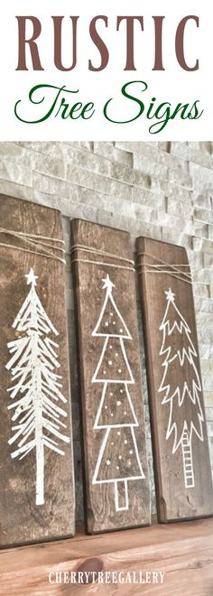 These Rustic Wooden Christmas Trees are a unique piece for your home during the holiday season!  Rustic White Wooden Christmas Tree Signs - 3 Piece Set, Rustic X-mas Decor, Farmhouse Decor, Arrow Decor, Rustic Decor, Gallery Wall Decor -Sponsored Christmas Tree Crafts, Wooden Christmas Trees, Winter Christmas, Merry Christmas, Christmas Decorations, Wood Projects, Craft Projects, Craft Ideas, Rustic Decor